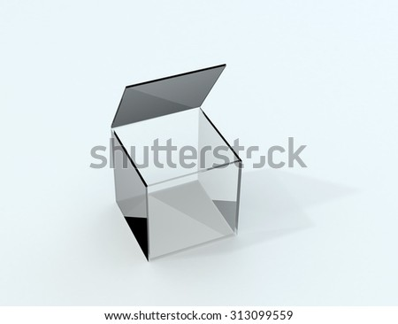 Isolated transparent box with shadow - stock photo