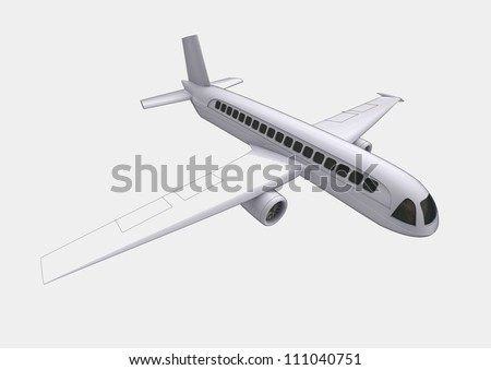 isolated travel airplane flight concept  in perspective front view on white background render illustration - stock photo