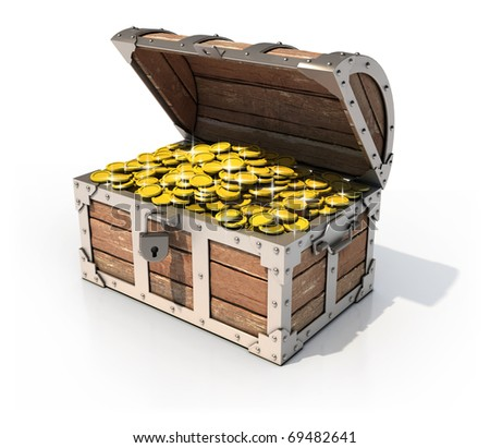 isolated treasure chest 3d illustration - stock photo