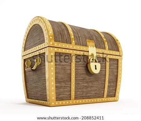 Isolated treasure chest with sealed lock - stock photo