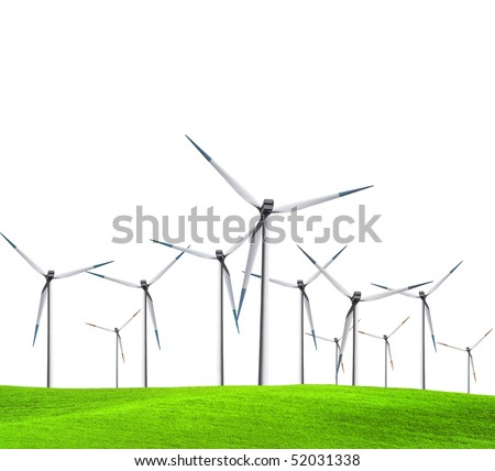 Isolated turbines on green field - stock photo