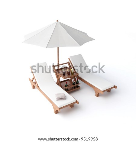 isolated two chairs and umbrella - stock photo