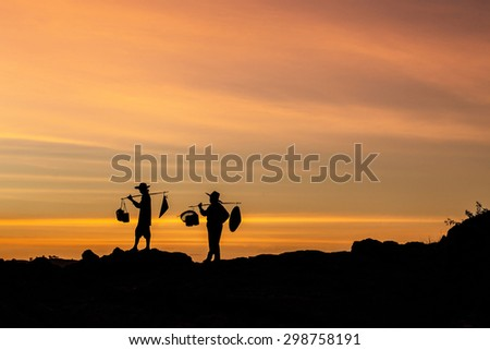 Isolated two girl during sunset