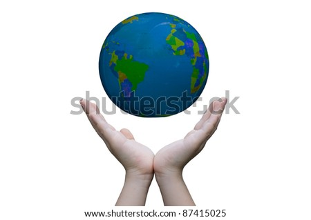 isolated two hands hold the world on white background