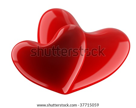 Isolated two hearts on white background. 3D image. - stock photo