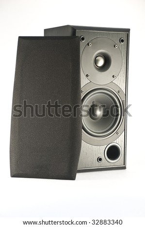 Isolated two way Hi-Fi wooden speaker, with cover removed to show tweeter, woofer and front air outlet. - stock photo