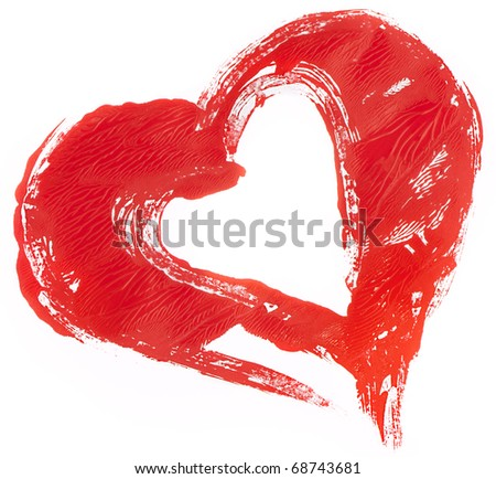 isolated untidily pained red heart on white - stock photo