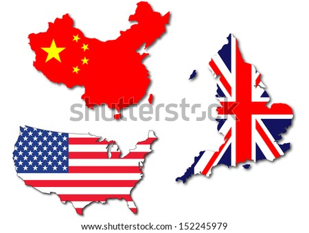 isolated us uk and china flag on a map - stock photo