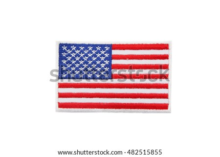 isolated usa flag patch on white background