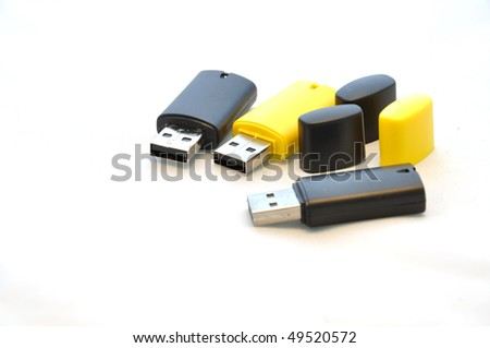 Isolated usb memory stick - black and yellow