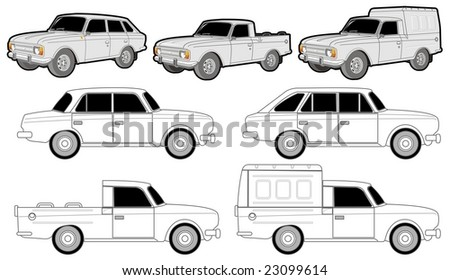 Isolated various car modifications. - stock photo