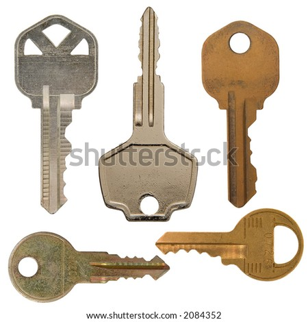 Isolated Various metal keys over white. Use them in your own designs.