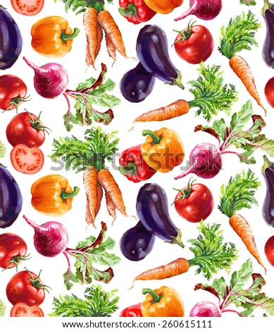 isolated vegetable seamless pattern illustration - stock photo