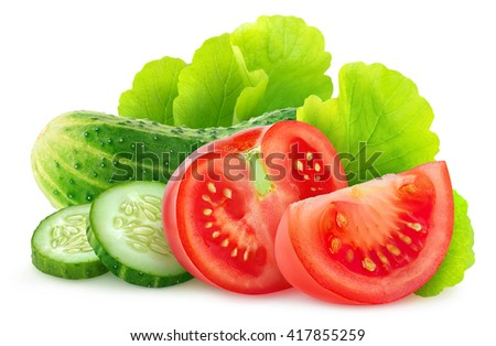Isolated vegetables. Fresh sliced cucumber and tomato isolated on white background with clipping path