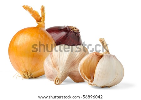 Isolated vegetables. Onions of different color and and garlic on white background