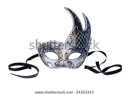 Isolated Venetian mask silver color - stock photo