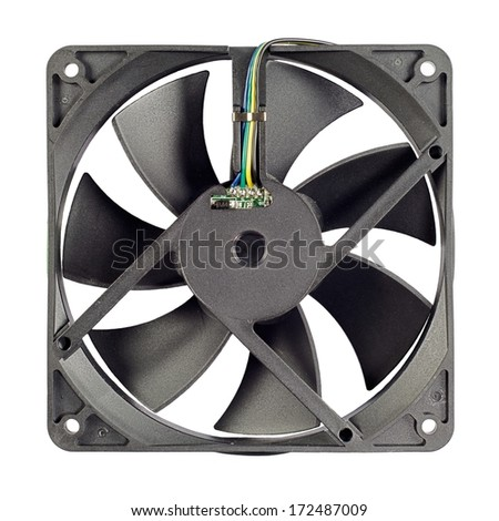 Isolated Ventilator - part of PC coooling system. Isolated on a white background. - stock photo