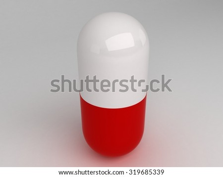 Isolated vertical red white pill - stock photo