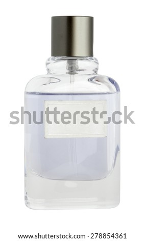isolated vial with perfume and grey cap on white background - stock photo