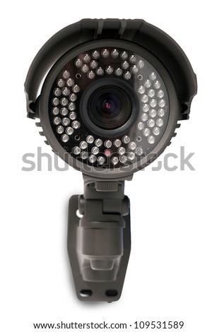 isolated video surveillance camera - stock photo