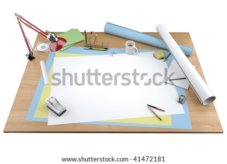 isolated view of a designer drawing table with lots of stationary items and a centered copy space for your own design or text. Clipping path included (more similar images on my port) - stock photo