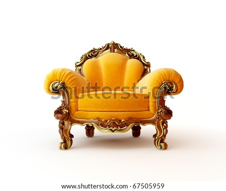 Isolated view of an antique chair 3D render