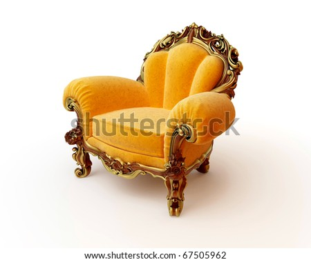 Isolated view of an antique chair 3D render - stock photo