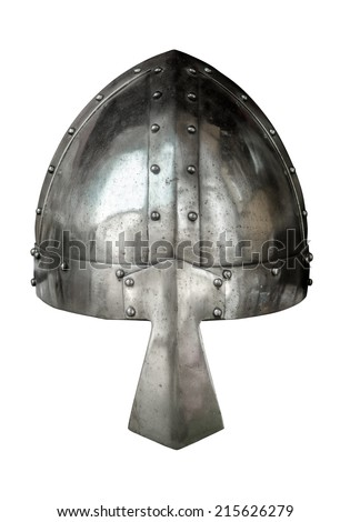 Isolated Viking Style Medieval Suite Of Armour Helmet With Nose Protector On White Background - stock photo