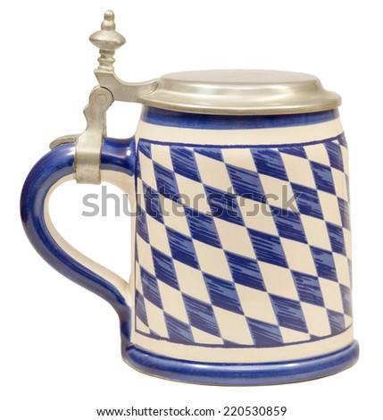 Isolated Vintage Bavarian Beer Stein - stock photo