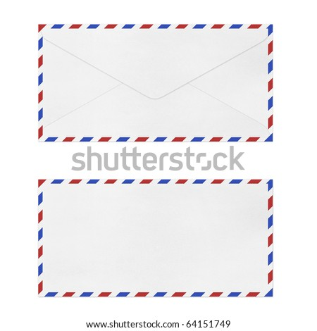 isolated Vintage Envelope on white. - stock photo