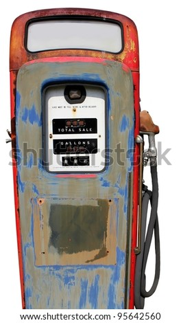 isolated vintage gas pump - stock photo