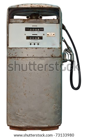 Isolated Vintage Gas Station Vertical view - stock photo