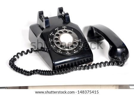 isolated vintage telephone on white background - stock photo