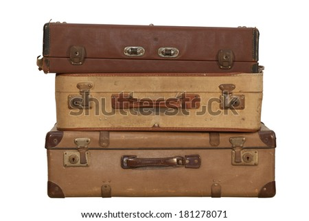 isolated vintage travel bag on white background with the clipping part.