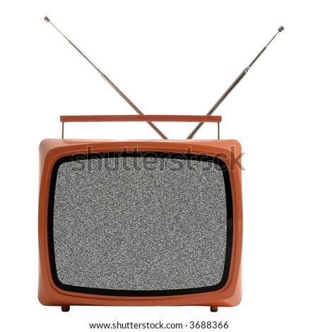 isolated vintage TV set - stock photo