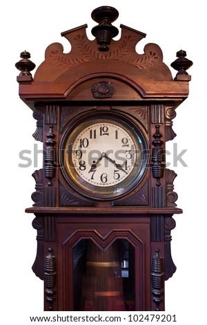 Isolated Vintage  Wood Clock - stock photo