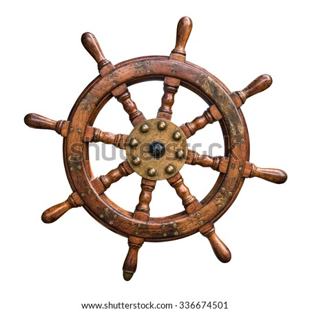Isolated Vintage Wooden And Brass Ship's Steering Wheel With White Background - stock photo
