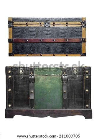 Isolated vintage wooden and leather chest - stock photo