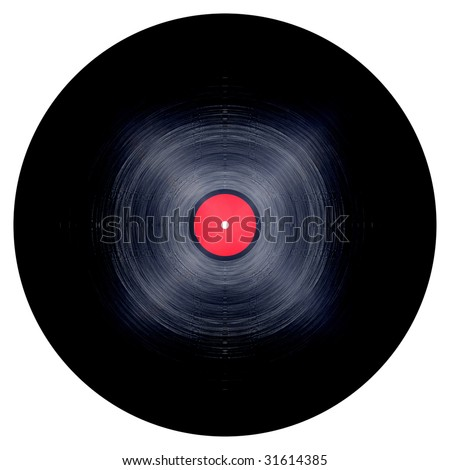 Isolated vinyl record on a solid white background