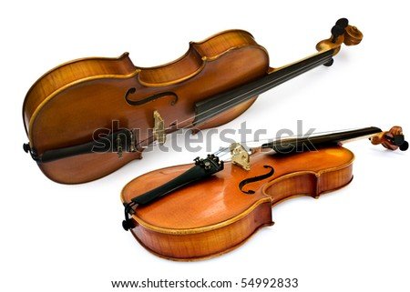 isolated violin on a white background - stock photo