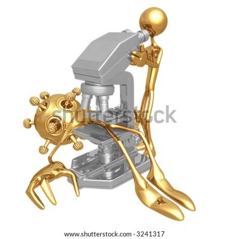 Isolated Virus Under Microscope - stock photo