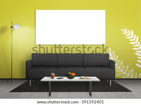 Isolated wall art canvas wall. Living room interior with sofa, lamp, table.
