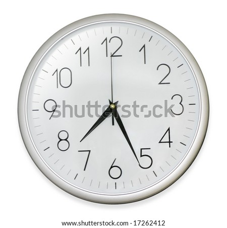 isolated wall clock in white background. Path included - stock photo