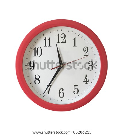 Isolated wall clock on white background - stock photo