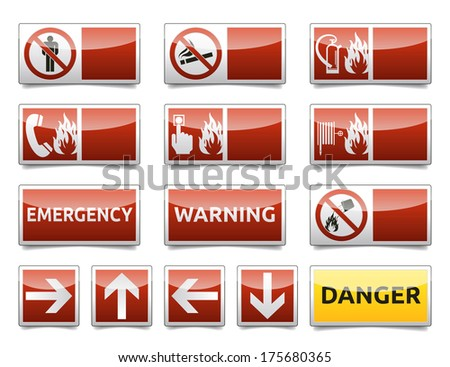 Isolated warning, exit, emergency sign collection with reflection and shadow on white background. - stock photo