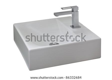 Isolated washbasin - stock photo