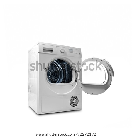 isolated washing and dryer machine with opened door on a white background