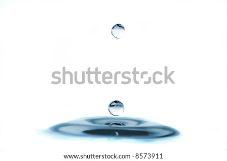 isolated water droplets, one on top and one on the surface - stock photo