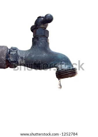 Isolated water faucet with a water droplet just about to fall.  Includes clipping path. - stock photo