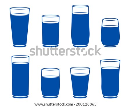 isolated water glass silhouette on white background - stock photo